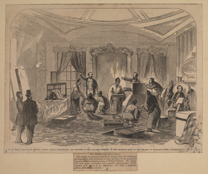 M.b. Brady And Frank Leslie S Artists Taking Photographs And Sketches Of The Japanese Presents, In The Reception Room Of The Embassy At Willard S Hotel, Washington Image