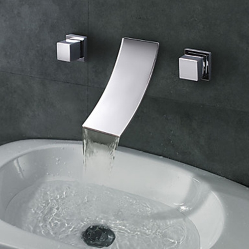 Widespread Designer Curve Spout Waterfall Bathroom Sink