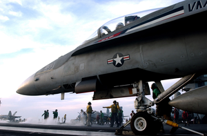 A Shooter Prepares To Launch An F/a-18 Hornet Image