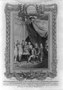 Mr. Fitzherbert The British Minister Plenipotentiary, With Gravier De Vergennes, And Le Compte D Aranda Ministers Plenipotentiary Of The Courts Of France & Spain, Signing The Preliminary Articles Of Peace At Versailles (on Jany. The 20th 1783) Previous To Their Final Ratification  / Metz Delin. ; Cook Sculp. Image