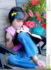 Little Girl Reading Clipart Image