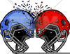 Football Helmets Crashing Into Each Other Clipart Image