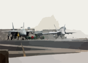 Carrier Air Wing 17 Aircraft Prepare For Launch. Clip Art