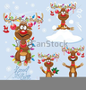 Reindeer With Christmas Lights Clipart Image