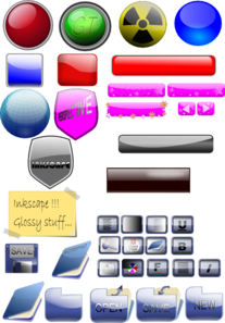 Mixed Gloss Icons And Buttons Clip Art