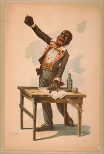 [african American, Standing At Desk, With One Hand Resting On Papers And One Hand Raised] Image