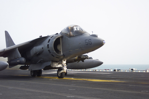 An Av-8b Harrier Prepares To Take Launch From The Flight Deck Aboard The Amphibious Assault Ship Uss Tarawa (lha-1) To Support Ground Combat Operations In Southern Iraq Image