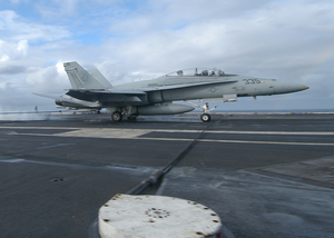 An F/a 18d Hornet Assigned To The Rough Raiders Of Strike Fighter Squadron One Two Five (vfa-125) Makes An Arrested Gear Landing On The Flight Deck Aboard Uss Theodore Roosevelt (cvn 71). Image