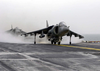 An Av-8b Harrier Jump Jet Assigned To The  Tigers  Of Marine Attack Squadron Five Four Two (vma-542) Prepares To Takes Off From The Flight Deck Of The Amphibious Assault Ship Uss Bataan (lhd 5). Image