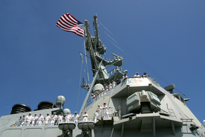 Ailors  Man The Rails  Aboard The Guided Missile Destroyer Uss Hopper (ddg 70) Image
