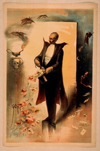 [magician Pulling Roses Out Of Top Hat Surrounded By Supernatural Beings] Image