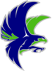 Woodinville Falcon - Grey Outline(navy) Clip Art
