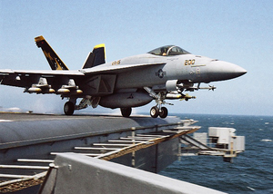 Super Hornet Launches Off The Lincoln Image