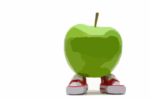 Apple With Feet Huge Clip Art