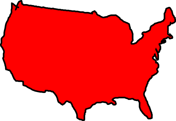 Red Map Usa Clip Art At Clkercom Vector Clip Art Online - Us map clipart