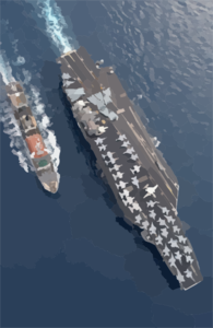 The Military Sealift Command (msc) Combat Stores Ship Usns Spica (t-afs 9) Steams Alongside The Nuclear Powered Aircraft Carrier Uss Harry S. Truman (cvn 75). Clip Art