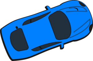 Blue Car - Top View - 20 Clip Art