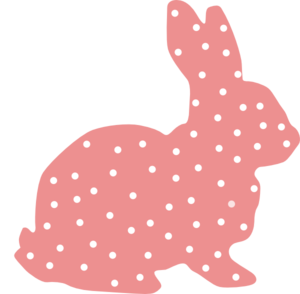 Pink Bunny Polka Dot Silhouette Clip Art