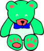 Surf Green Teddy Bear Line Art Clip Art