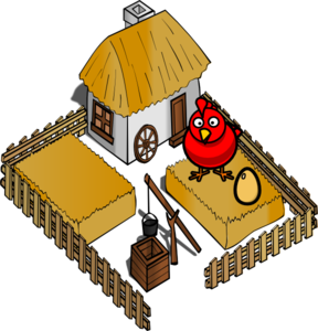 Hen On A Farm With Egg Clip Art
