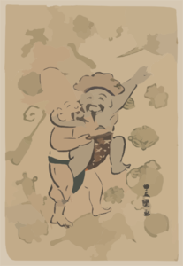 Sumo Match Between Daikoku And Fukurokuju. Clip Art