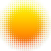 Orange Halftone Sun Vector Illustration Image
