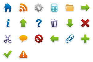 Colorful Stickers Icons Set Full Preview Image