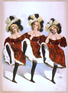 [three Dancing Women In Red Costumes And Feathers] Image