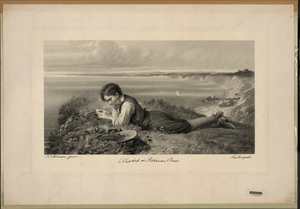 Absorbed In Robinson Crusoe  / Robert Collinson 1871. Image