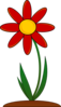 Planted Red Flower Clip Art