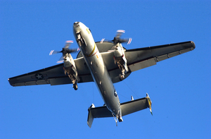 E-2c Hawkeye Flies Directly Over The Flight Deck Image