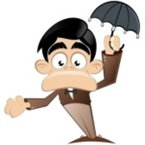Funny Cartoon Man With Umbrella Image