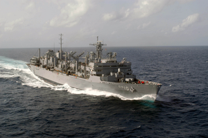 The Fast Combat Support Ship Uss Bridge (aoe 10) Sails Through The Indian Ocean. Image