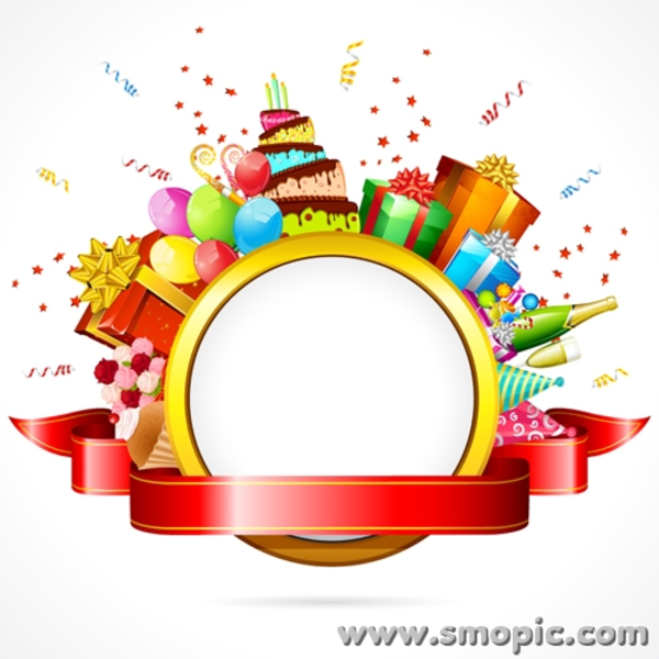 Smopic Com Free Vector Birthday Photo Frame Wreath
