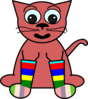 Cartoon Cat In Rainbow Socks Clip Art