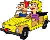Girl And Boy Driving Car Cartoon Clip Art