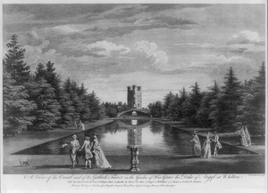 A View Of The Canal And Of The Gothick Tower In The Garden Of His Grace The Duke Of Argyl At Whitton Image