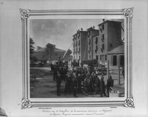 [position Of The First Battalion Of The Second Division Of The Fire Brigade Drilling As If At A Fire]  / Abdullah Frères, Phot., Constantinople. Image