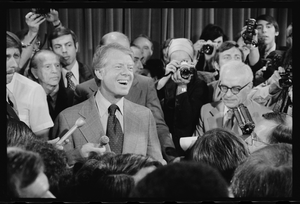 [president Jimmy Carter At A Press Conference, Surrounded By Journalists] Image