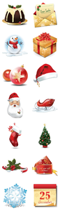 Christmas Icons Set Full Preview Image