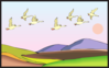 Geese Flying With Sunset Clip Art