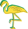 Green And Yellow Flamingo Art Clip Art