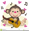 Monkey Playing Guitar Clipart Image