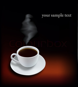 Cup Of Coffee On Black Background Photo Realistic Vector Image