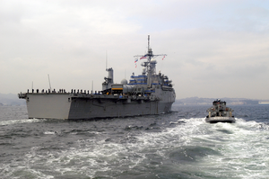 The Command Ship Uss Coronado (agf 11) Enters The Port Of Yokosuka, Japan. Image