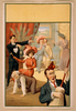 [hypnotist Directing Group Of People To Do Unusual Things: Woman Riding Man, Man Playing Broom Like A Guitar, Two Men Embracing] Image