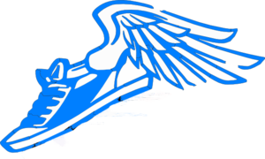 Blue Running Shoe With Wings Clip Art