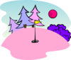 Pink Golf Course Scene Clip Art