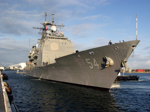 The Guided Missile Cruiser Uss Antietam (cg 54) Pulls Pier Side At The Inner Fremantle Harbor Image