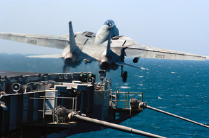 An F-14b Tomcat Assigned To The Red Rippers Of Fighter Squadron One One (vf-11) Launches Off The Bow Of Uss George Washington (cvn 73) For A Training Mission. Image